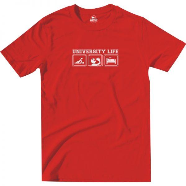 UNIVERSITY LIFE red t-shirt