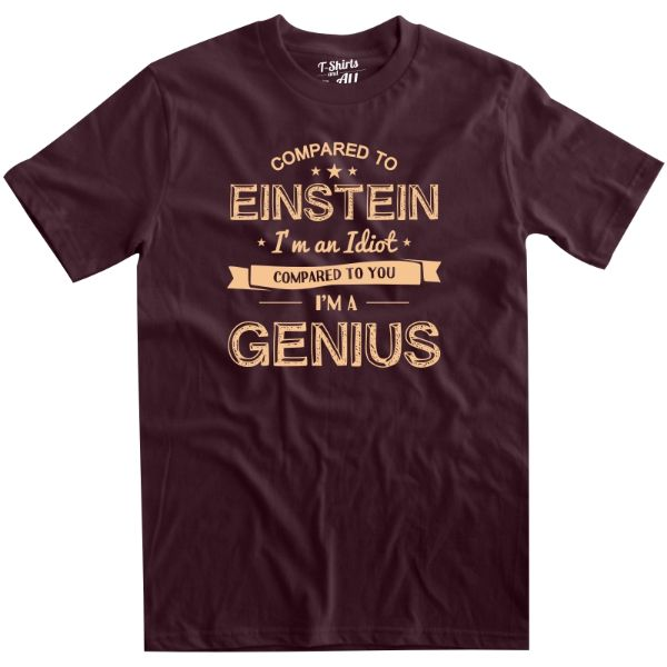 compared to einstein man t-shirt burgundy b