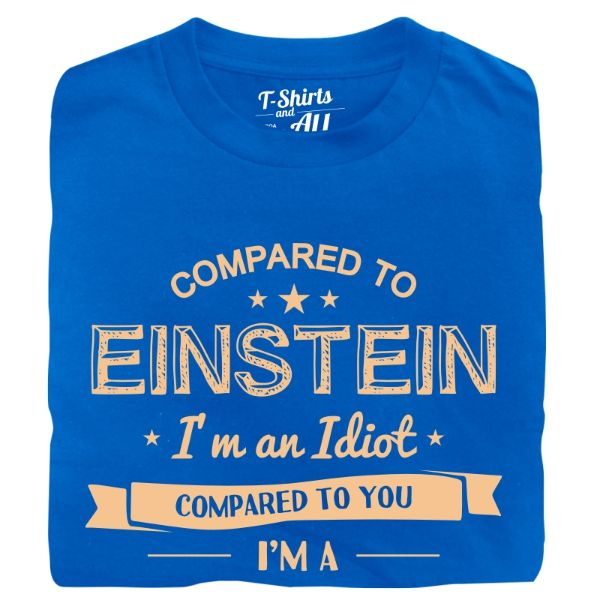compared to einstein man t-shirt royal blue
