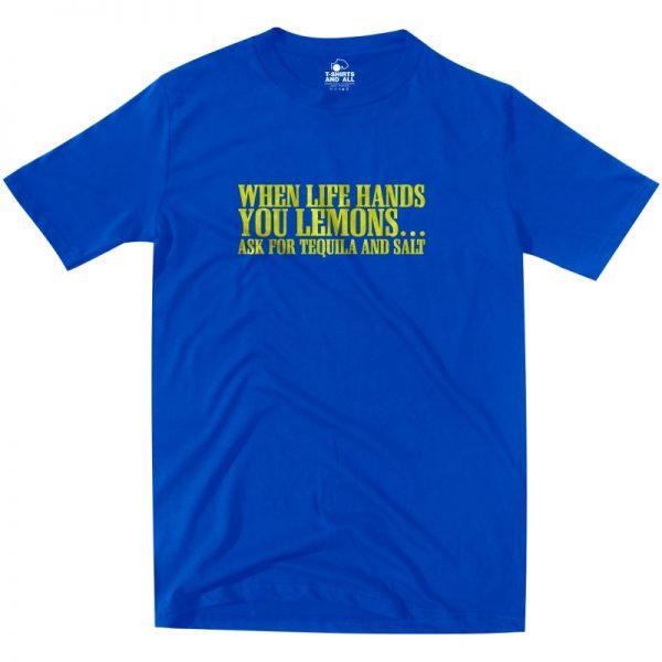 lemons royal blue t-shirt