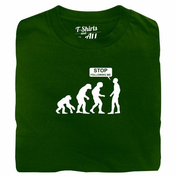 stop following me bottle green t-shirt