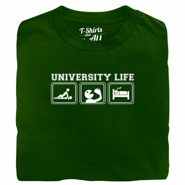 university life bottle green t-shirt