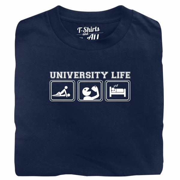 university life navy blue t-shirt