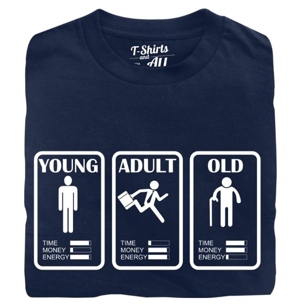 young adult old man t-shirt navy blue