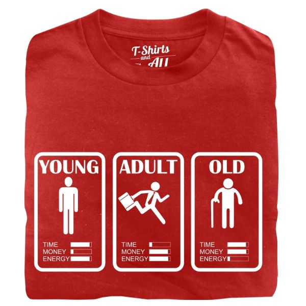 young adult old man t-shirt red