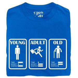 young adult old man t-shirt royal blue