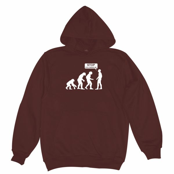 STOP FOLLOWING ME BURGUNDY HOODIE