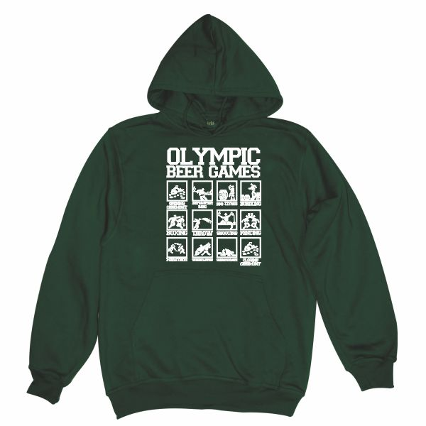 olympic beer games dark green hoodie