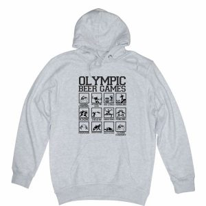 olympic beer games heather grey hoodie