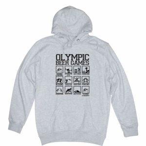 olympic beer games heather grey hoodie