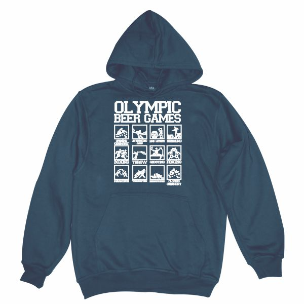 olympic beer games navy blue hoodie