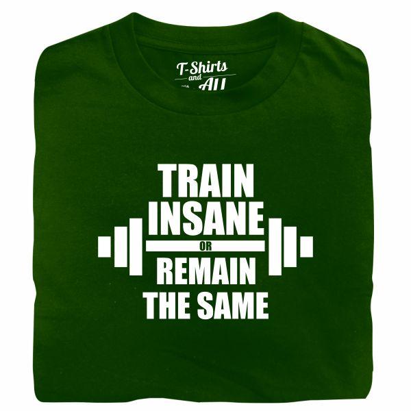 train insane man green t-shirt