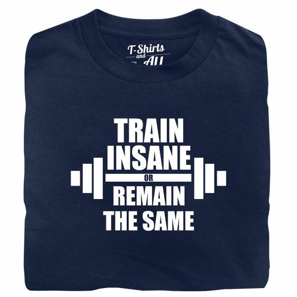 train insane man navy t-shirt