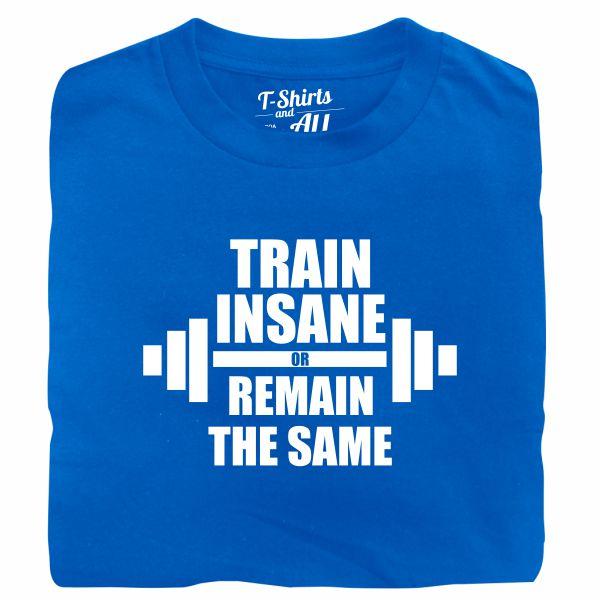 train insane man royal blue t-shirt