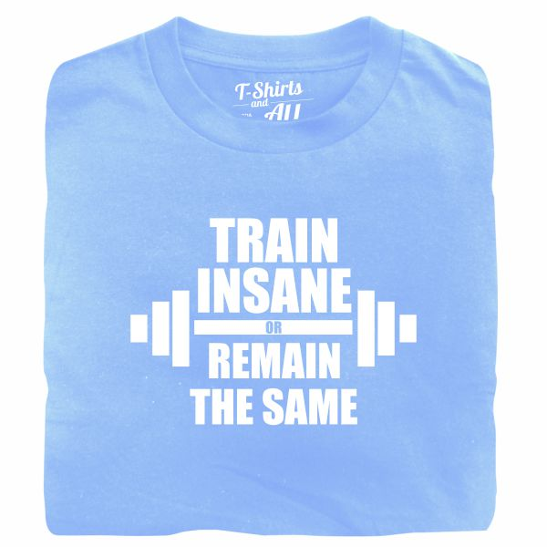 train insane man sky blue t-shirt