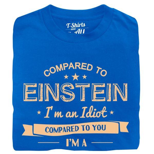 compared to einstein man t-shirt royal blue