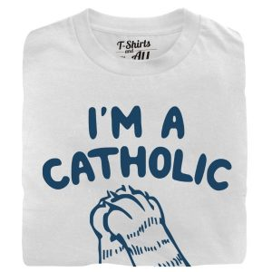 im a catholic addicted to cats man white t-shirt