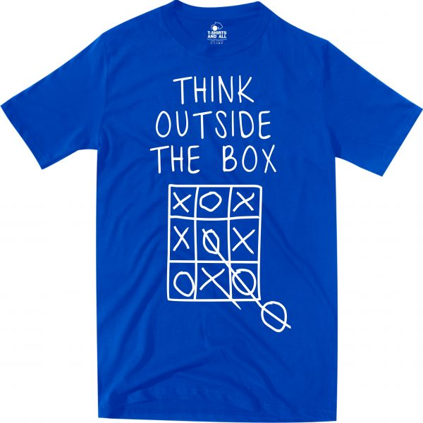 think outside man royal blue t-shirt