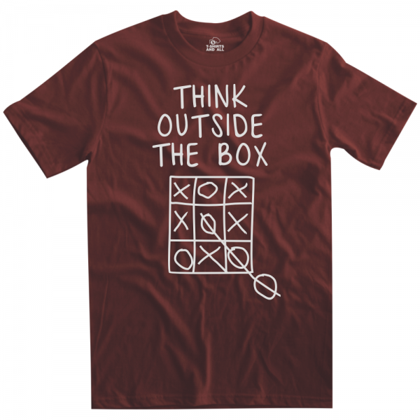 think outside the box man burgundy t-shirt