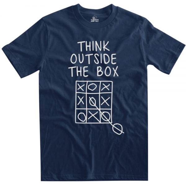 think outside the box man navy blue t-shirt