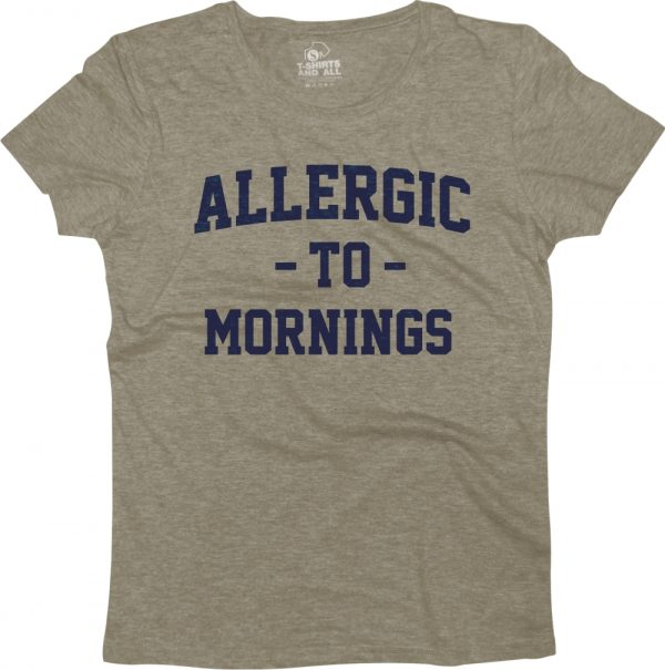 allergic to mornings woman heather grey t-shirt