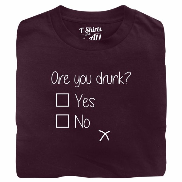 are you drunk burgundy t-shirt