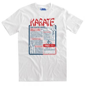 karate vintage at white tshirt