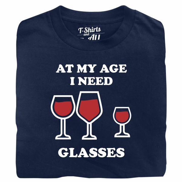 At my age I need glasses man navy blue t-shirt