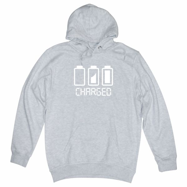 Battery charged heather grey hoodie