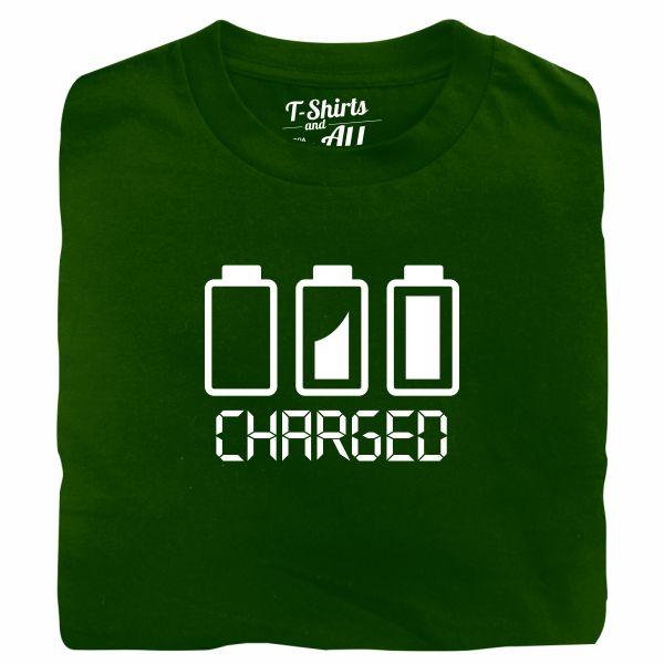 Battery charged man bottle green t-shirt
