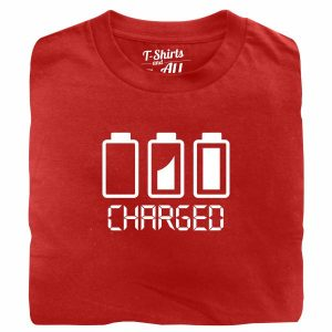 Battery charged man red t-shirt