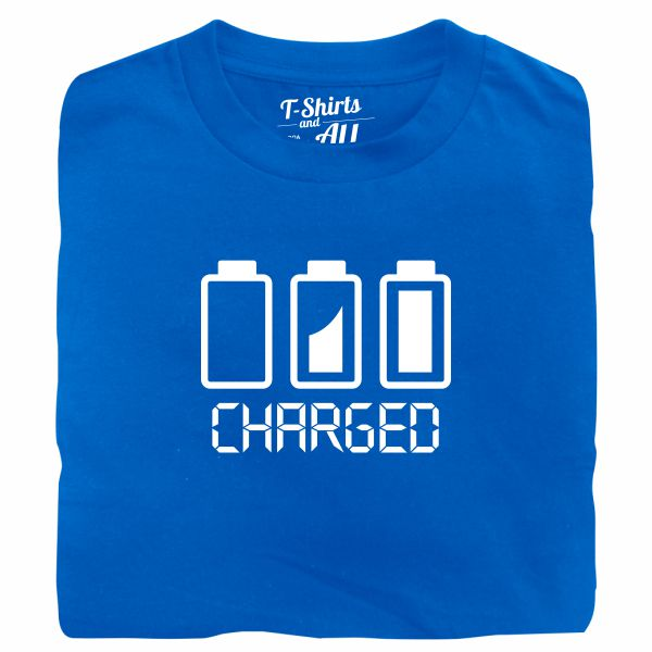 Battery charged man royal blue t-shirt