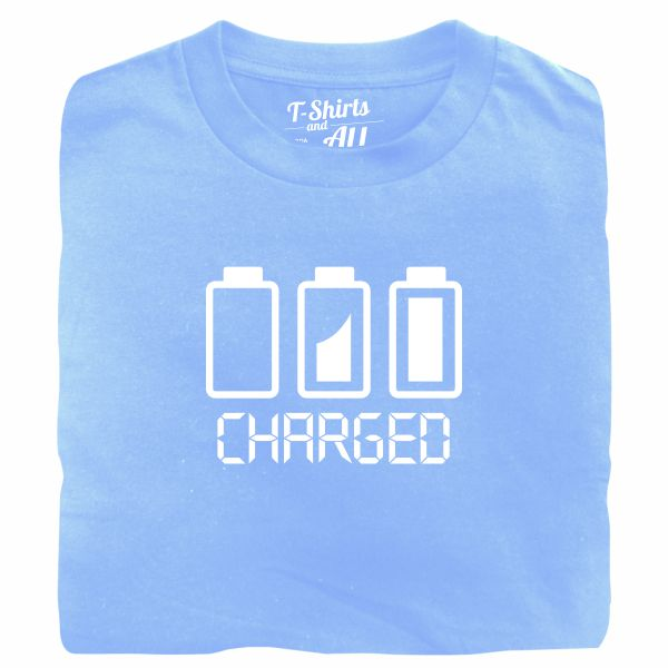 Battery charged man sky blue t-shirt