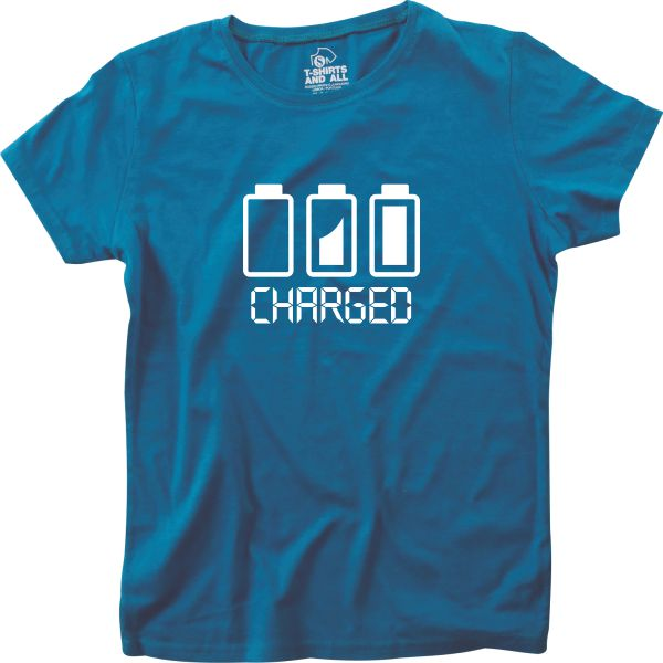 Battery charged woman royal blue t-shirt