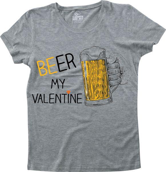 Beer my valentine girls heather grey t-shirt