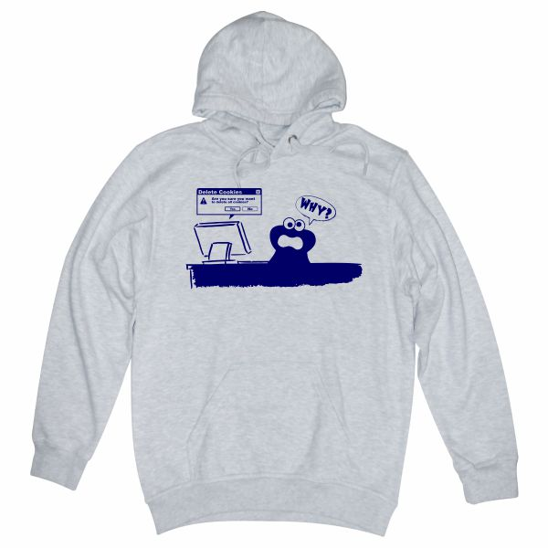 Delete Cookies heather grey hoodie