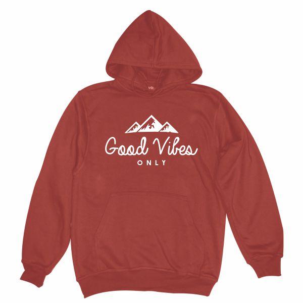 Good Vibes burgundy hoodie