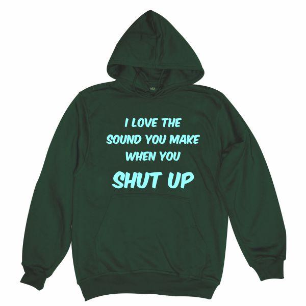 I love the sound man bottle green hoodie