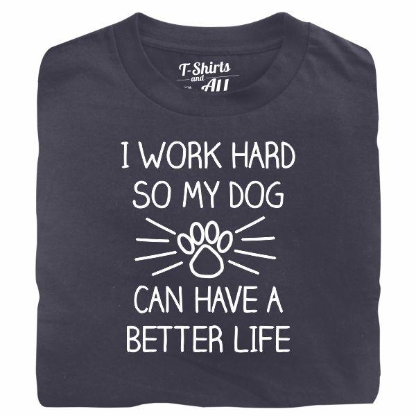 I work hard so my dog man denim t-shirt