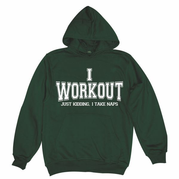 I workout man bottle green hoodie