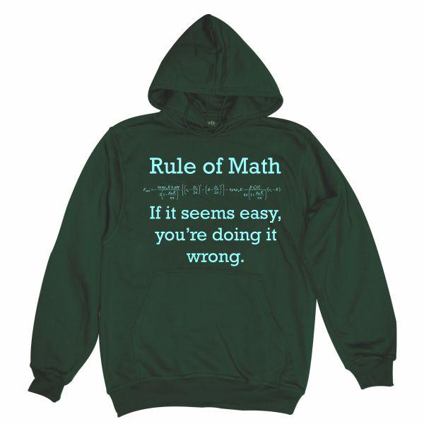 Rule of math man bottle green hoodie