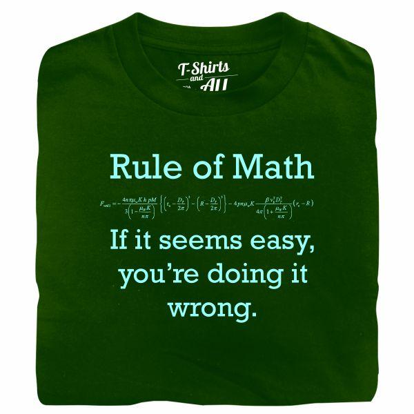 Rule of math man bottle green t-shirt