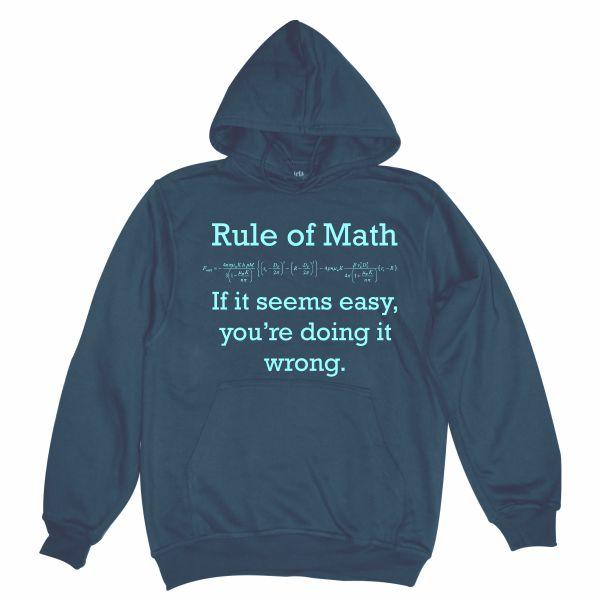 Rule of math man navy blue hoodie