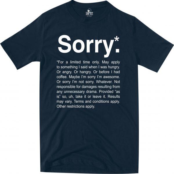 sorry navy blue t-shirt