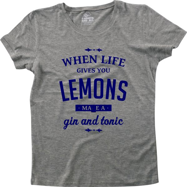 When life gives you lemons woman heather grey t-shirt