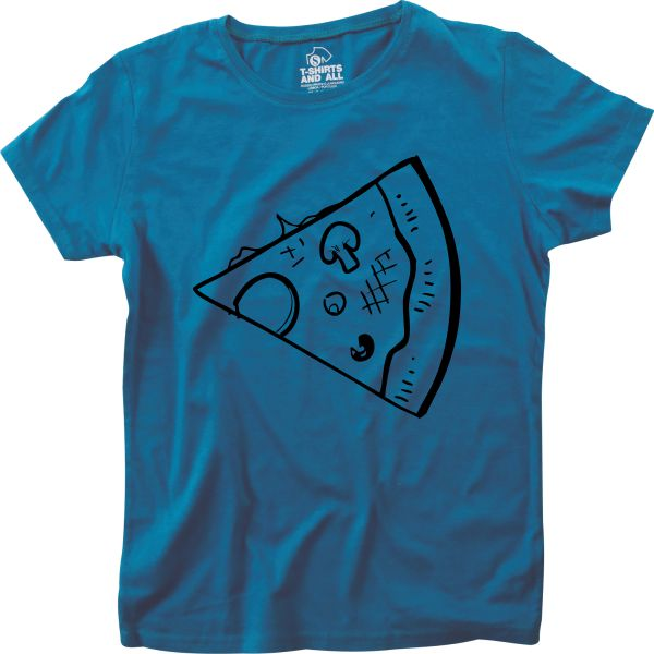 fatia de pizza couple royal blue t-shirt