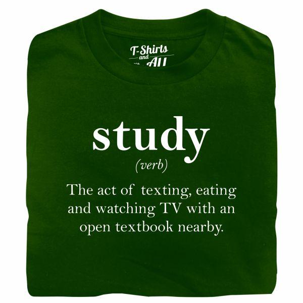 study verb bottle green t-shirt
