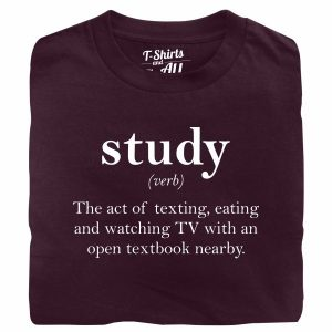 study verb burgundy t-shirt