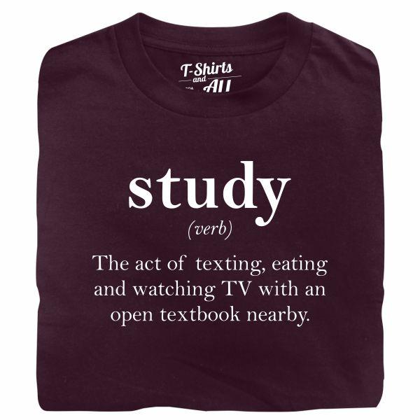 study verb burgundy t-shirt
