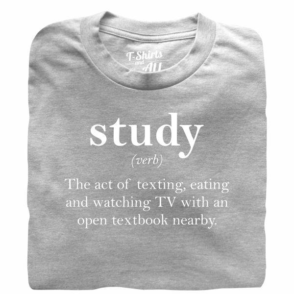 study verb heather grey t-shirt